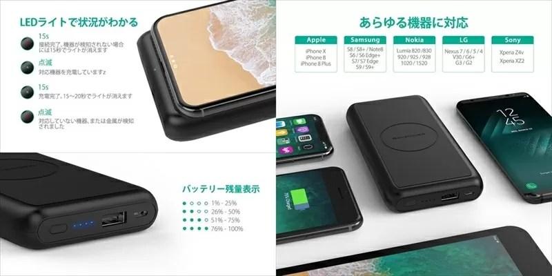 Qi ワイヤレス充電 10000mAh モバイルバッテリー『 RP-PB081 』
