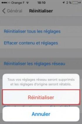 Iphone IOS 9 réseau réinitialiser