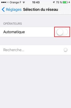 Iphone IOS 9 sélection opérateur