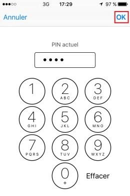 contact code pin ecran verrouillage iPhone 6 pin actuel
