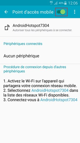 internet Samsung android 5 . x modem et point d'acces activer