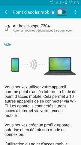 internet Samsung android 5 . x modem et point d'acces bouton