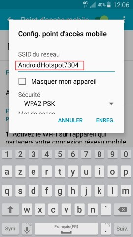 internet Samsung android 5 . x modem et point d'acces nom