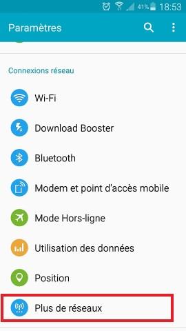 Échec réseau appel Samsung android 5 menu plus de réseaux
