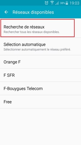 Échec réseau appel Samsung android 5 recherche de réseaux