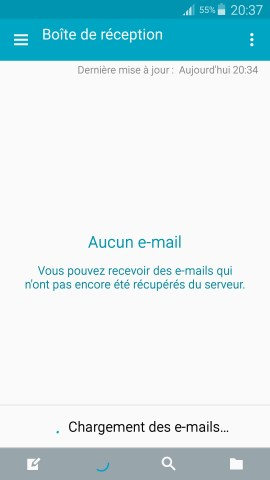 mail Samsung config mail chargement