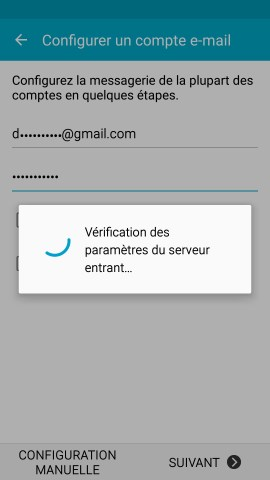 mail Samsung config mail en cours