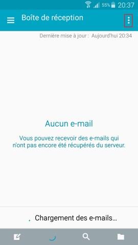 mail Samsung config mail parametre