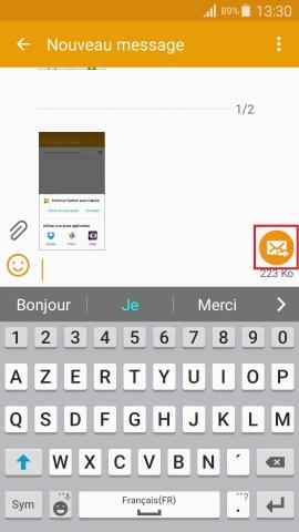 MMS Samsung android 5.x nouveau message photo ajouter