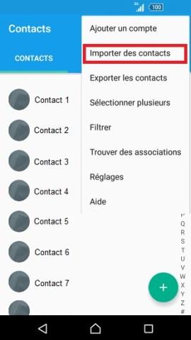 contact code pin ecran verrouillage Sony (android 5.1) contact SIM vers tel