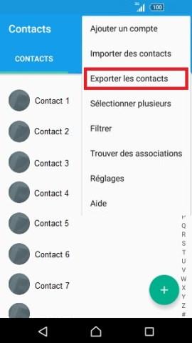contact code pin ecran verrouillage Sony (android 5.1) contact tel vers SIM