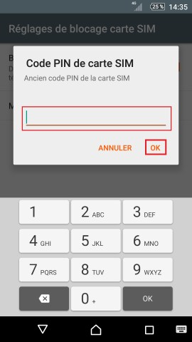 contact code pin ecran verrouillage Sony (android 5.1) réglages ancien sim