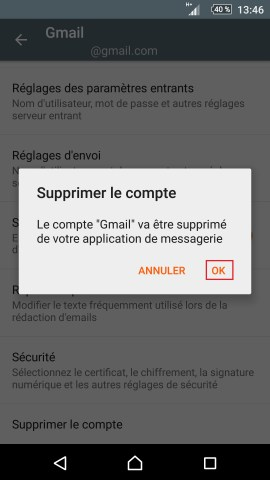 mail Sony android 5.1 suppression compte ok