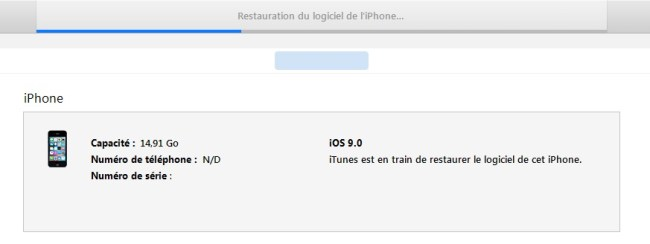 iTunes restauration en cours 2