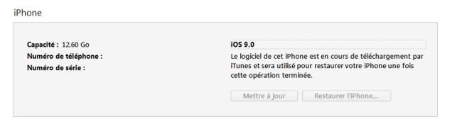 iTunes restauration en cours