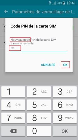 contact code pin ecran verrouillage Samsung (android 6.0) code pin nouveau