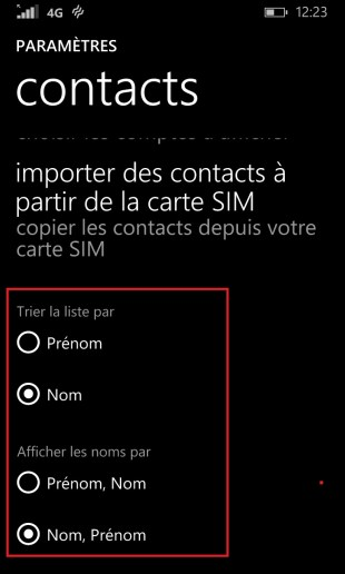 contact code pin ecran verrouillage Lumia windows 8.1 contact nom prenom