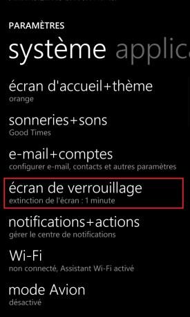 contact code pin ecran verrouillage Lumia windows 8.1 ecran de verrouillage