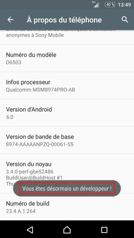 Sony-android-6-developpeur