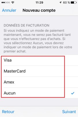 iphone ios9 app store compte VISA