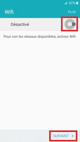 Activation Samsung mise en route WIFI activation