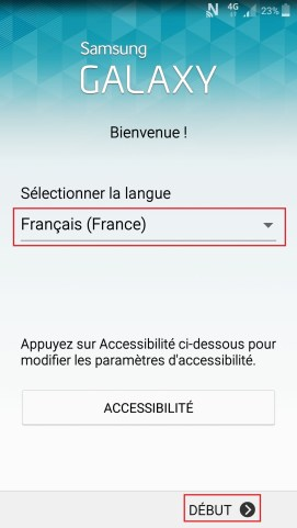 Activation Samsung mise en route langue