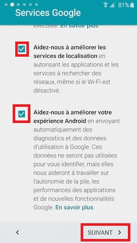 Activation Samsung mise en route service google 2