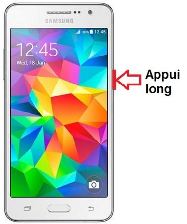 Samsung Galaxy Grand prime allumage