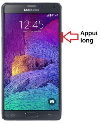 Samsung Galaxy Note 4 allumage