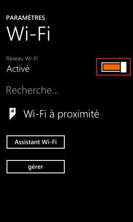 Internet Lumia windows 8.1 wifi bouton