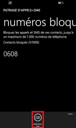 SMS Lumia windows 8.1 numero debloquer sélection