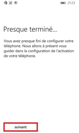 Assistant de configuration Lumia windows-8.1 presque terminé