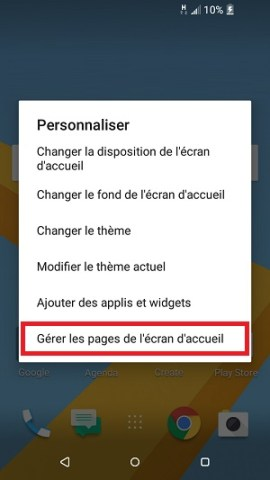 Personnaliser HTC android 6 page accueil