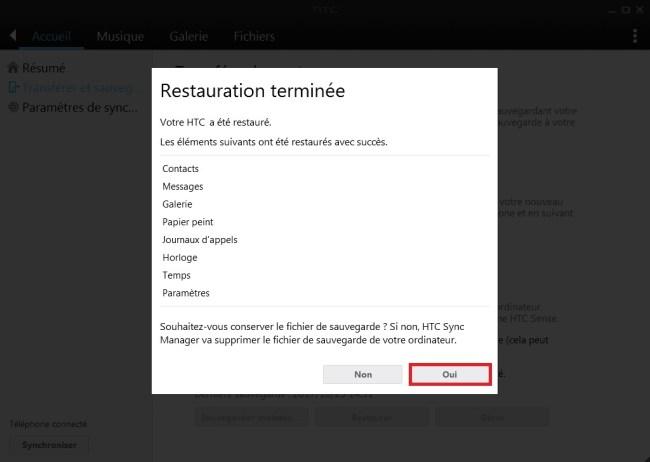 HTC Sync Manager restauration