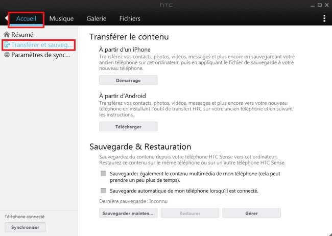 HTC Sync Manager sauvegarde