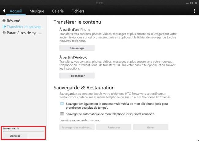 HTC Sync Manager sauvegarde