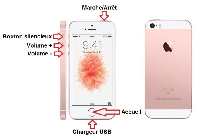 iPhone SE bouton