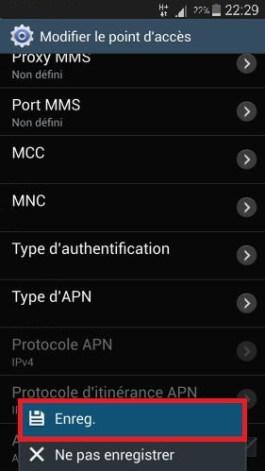internet Samsung android 4-4.4 APN enregistrer
