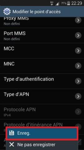 MMS Samsung APN enregistrer