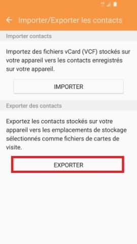 contact code pin ecran verrouillage Samsung (android 6.0) exporter