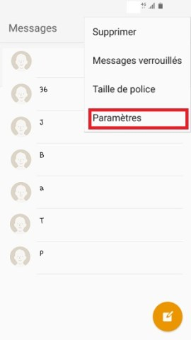SMS Samsung android 6 paramètres