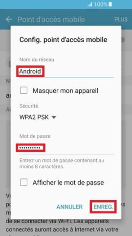 internet Samsung android 6 paratage de connexion configuration