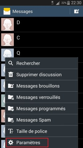 SMS Samsung android 4 message parametre