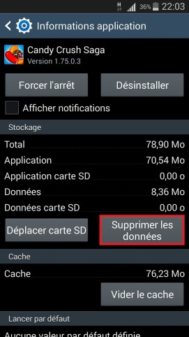 Applications Samsung android 4 supprimer donnée