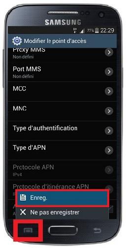 MMS Samsung touche-menu APN