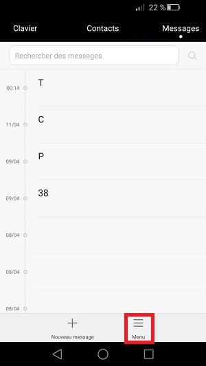 SMS Huawei (envoi, réception blocage, accusés) (android 5