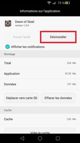 Applications Huawei desintaller application