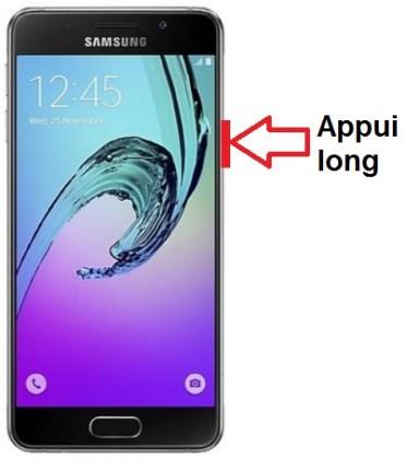 Samsung Galaxy A3 allumage