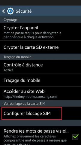 contact code pin ecran verrouillage Samsung (android 4.4) carte sim