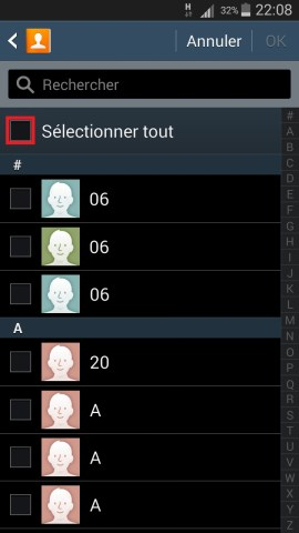 contact code pin ecran verrouillage Samsung (android 4.4) contact selection